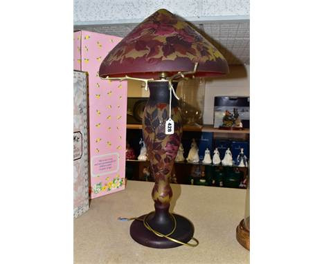 A REPRODUCTION GALLE STYLE LAMP AND SHADE, red and amber cameo style glass with roses and foliage, facsimilie signatures to b