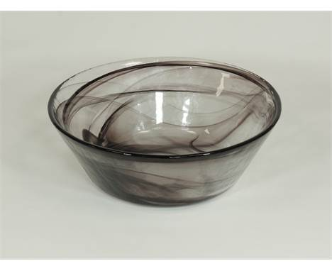 Ulrica Hydman-Vallien (1938-2018) design for  Kosta Boda,  Mine' a boxed clear glass bowl with coiled sea creature and purple