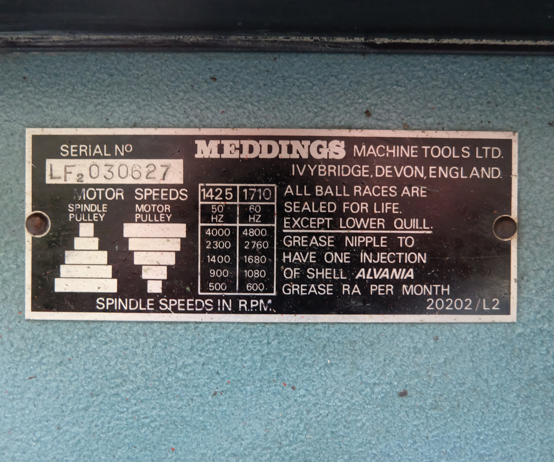 Meddings Type LF2 Bench Drill. Spindle Speeds 500-4000rpm. - Image 5 of 5
