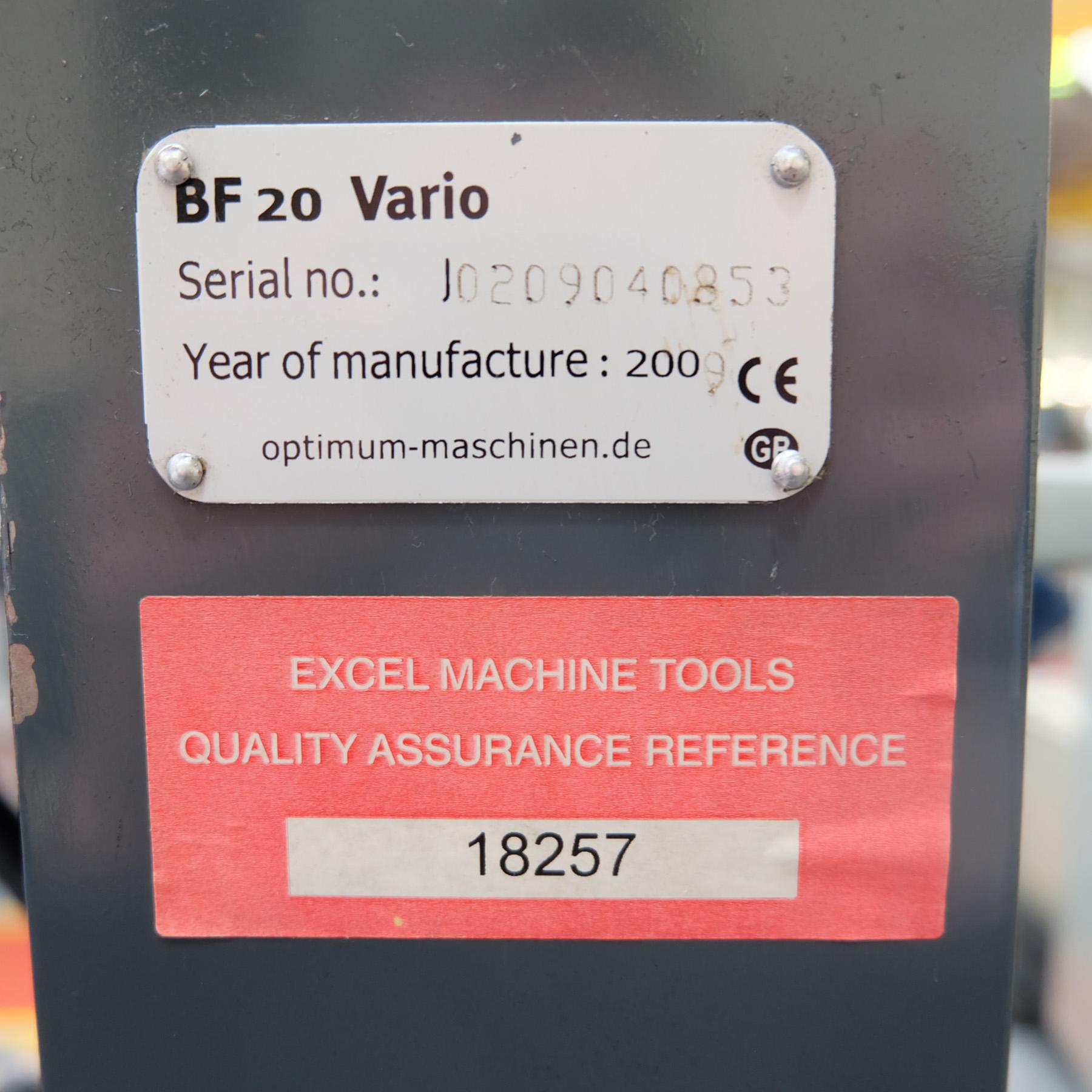 Optimum BF20 Vario Drilling/Milling Machine. - Image 10 of 11