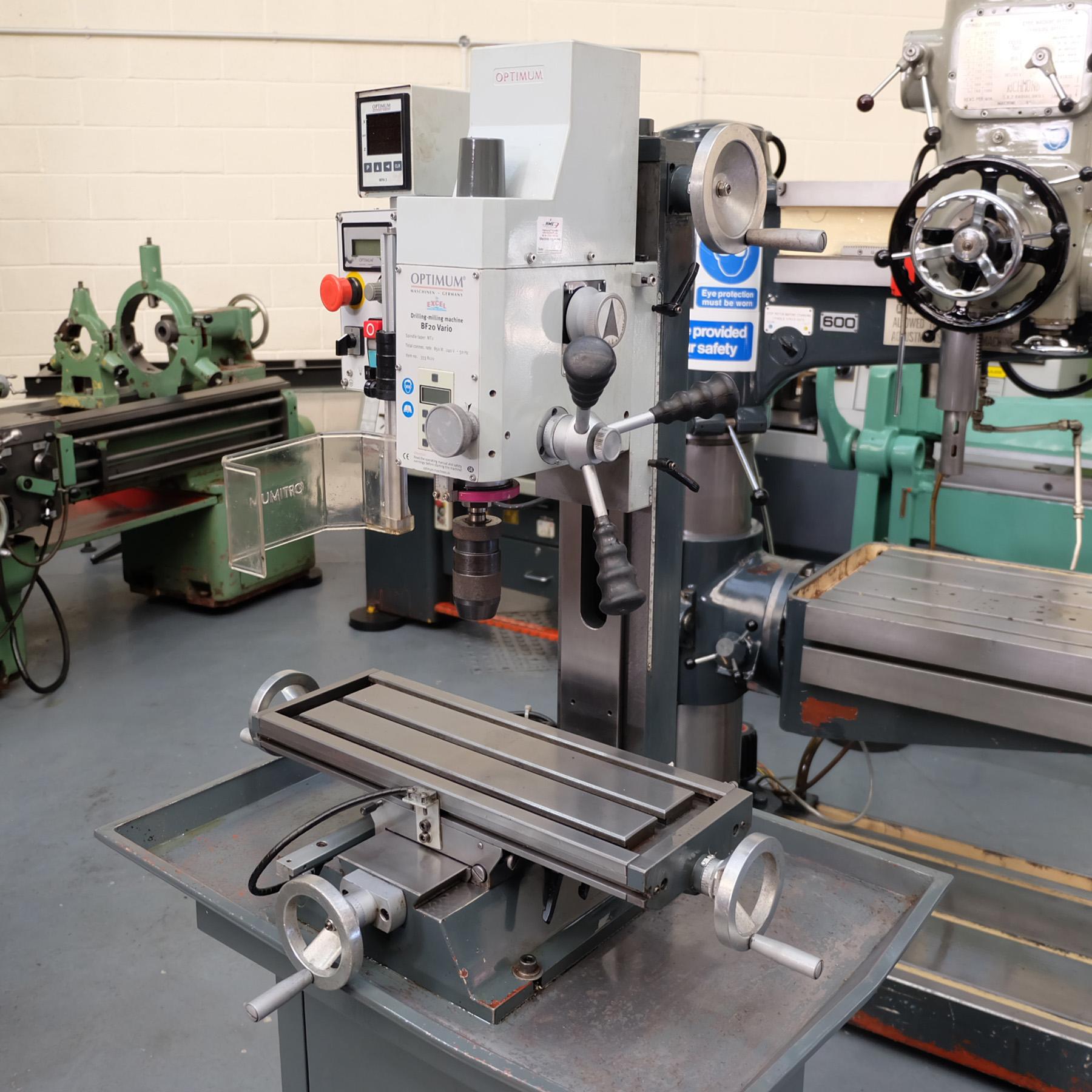 Optimum BF20 Vario Drilling/Milling Machine. - Image 2 of 11