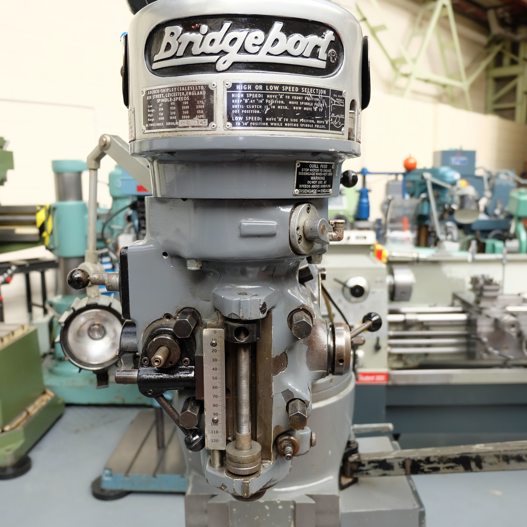 "Bridgeport J Type Turret Miller. Table Size 42"" x 9"". - Image 5 of 13"