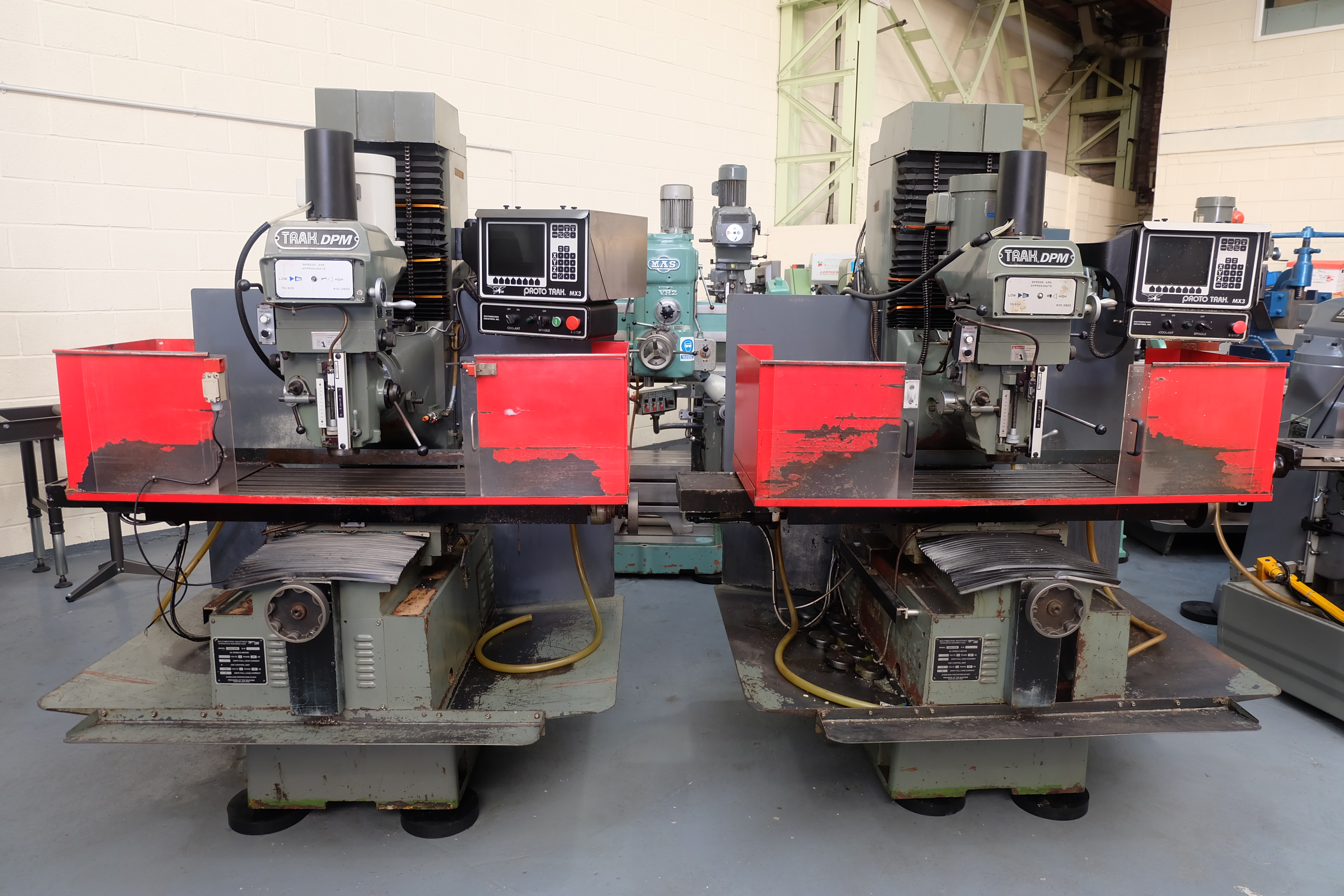 "2 x XYZ Type DPM Milling Machines Table 42"" x 12 1/2"". Prototrak MX3 Control. For Spares or Repair."