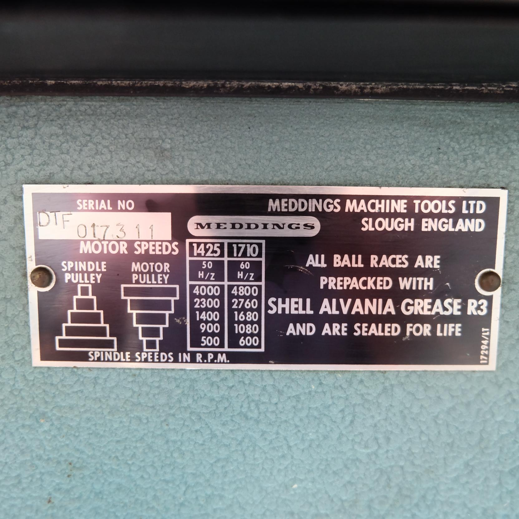 """Meddings Model DTF: Pillar Drill. Speeds 500-4000rpm.Throat 71/2"""". 1/2"""" Drill Chuck. 3 Phase. - Image 4 of 6"""
