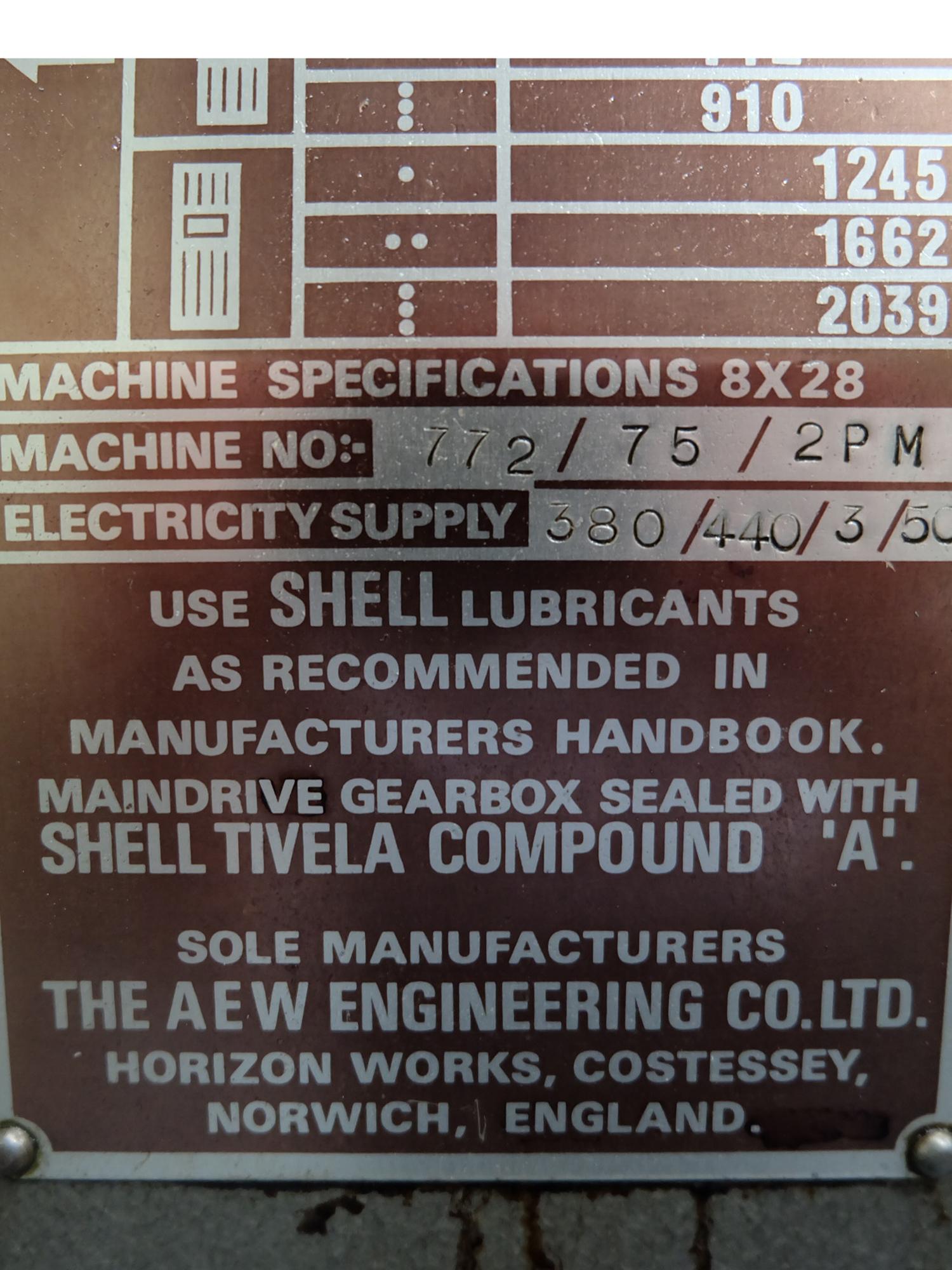 Veceroy AEW: Horizontal Milling Machine. - Image 10 of 10