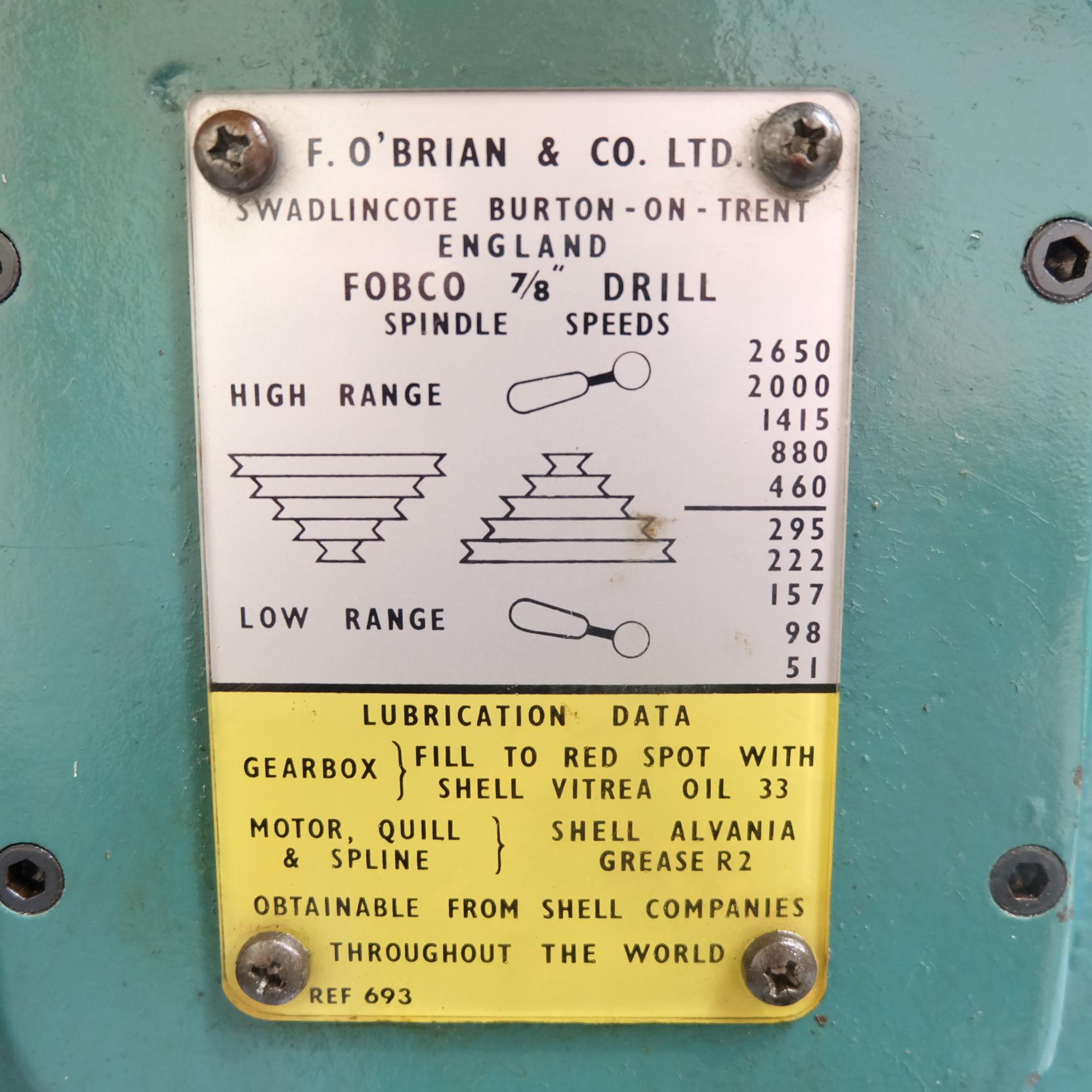 "Fobco 7 Eight: Pillar Drill. No.2 MT. Capacity 7/8"". Speeds 51-2650rpm. - Image 4 of 7"