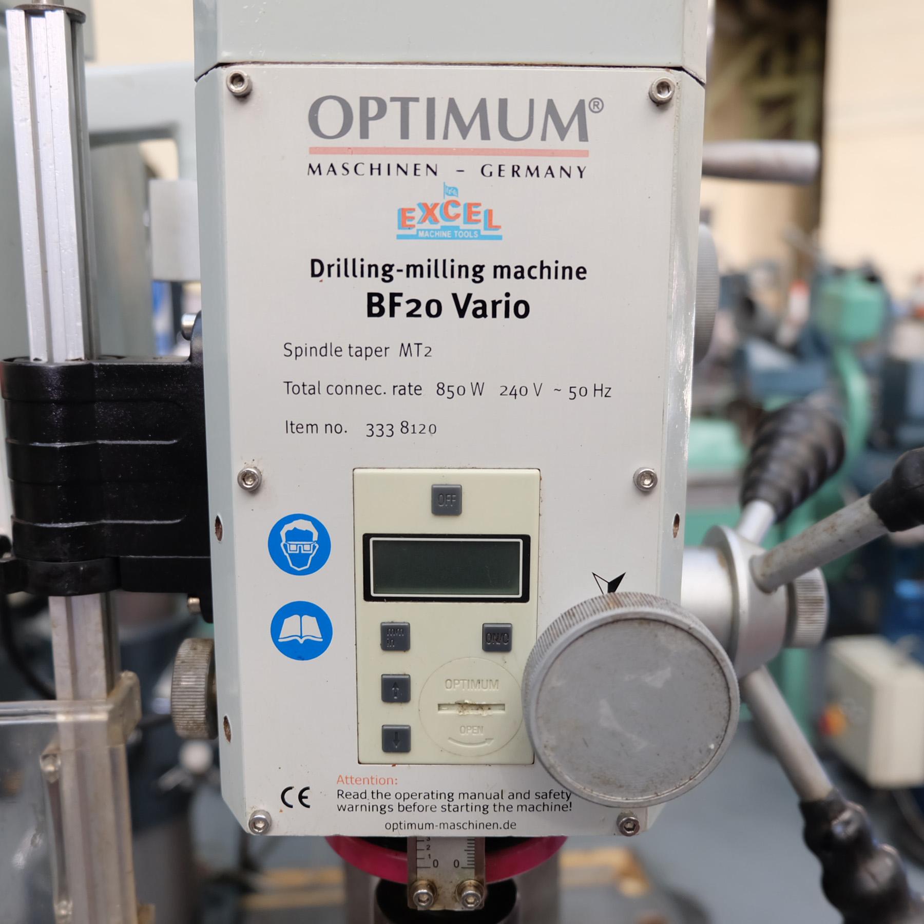Optimum BF20 Vario Drilling/Milling Machine. - Image 4 of 11