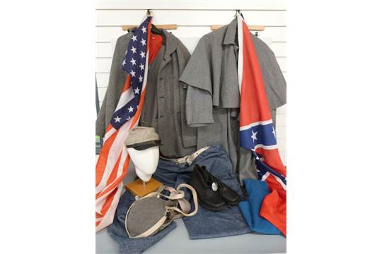A collection of American Civil War reenactment uniforms and