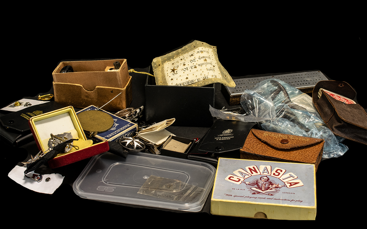 Collection of Ephemera including four packs of vintage cards, comprising playing cards, Lexicon,