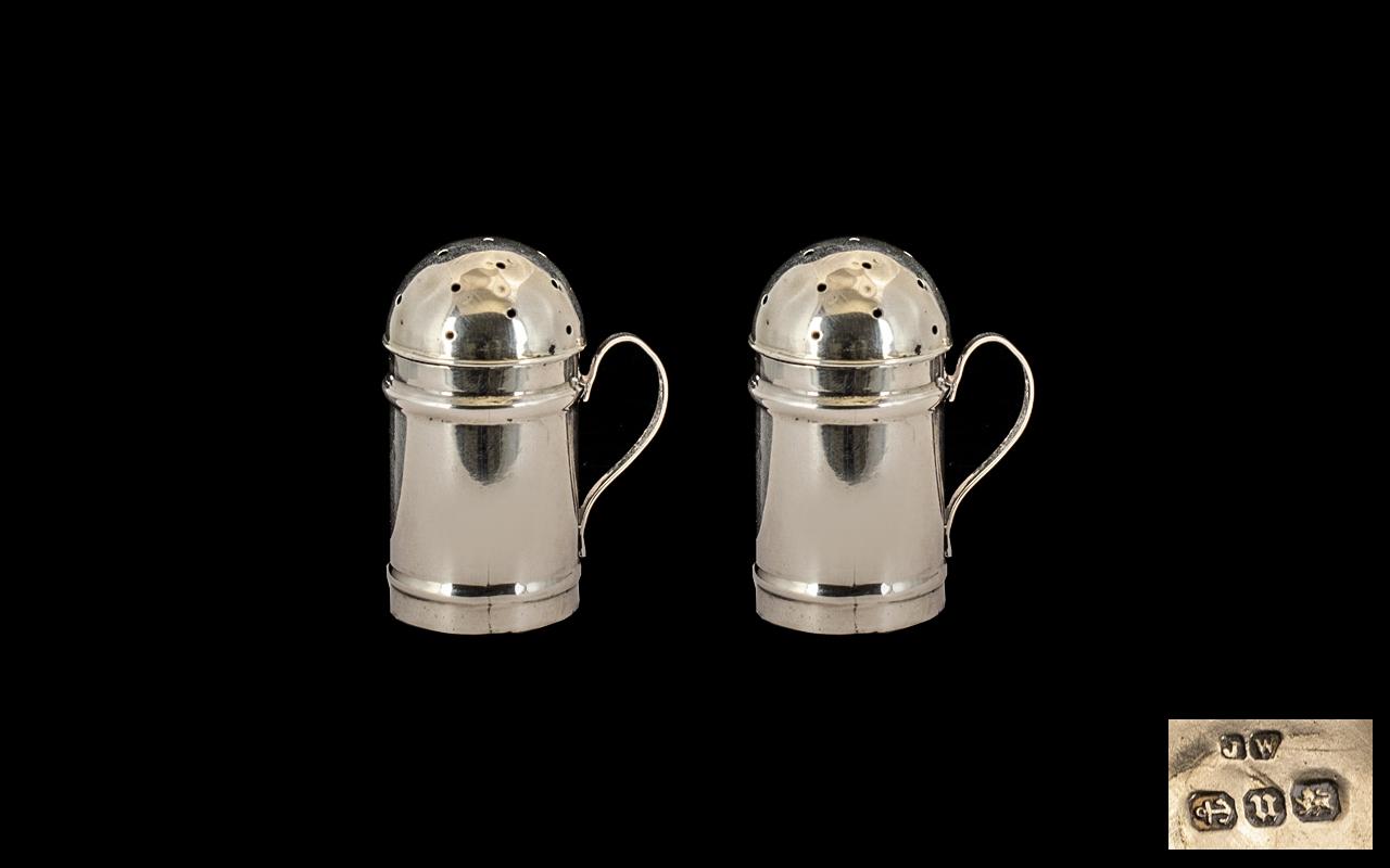 Lot 314 - Pair Of Silver Miniature Pepper Pots Of Plain Form, Pierced Cover/Lids, Scroll Handle,