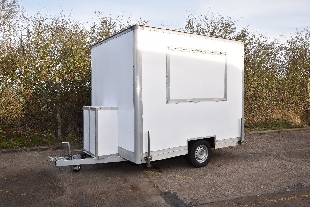 "Lot 5 - Catering Trailer – White 9"" x 7"" – completely refurbished, fitted out for Jacket Potatoes Soup &"