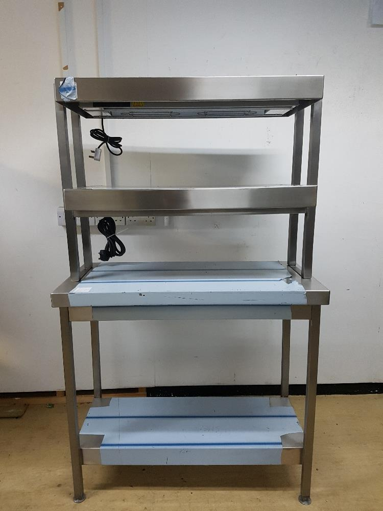 Lot 41 - New American Made Stainless Steel Table with Two Tier Heavy Duty Heated Gantry  Table W960mm x