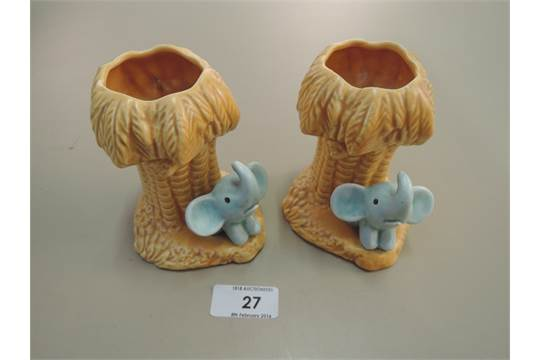 A Pair Of Sylvac Vases Modelled As Palm Tree With Elephant 2430