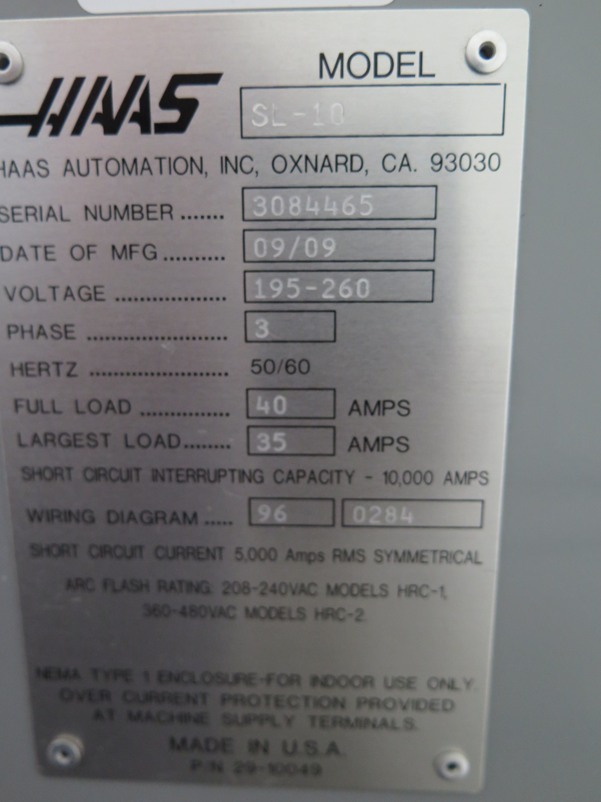 2009 Haas SL-10 CNC Turning Center s/n 3084465 w/ Haas ... Haas Tool Setter Wiring Diagram on