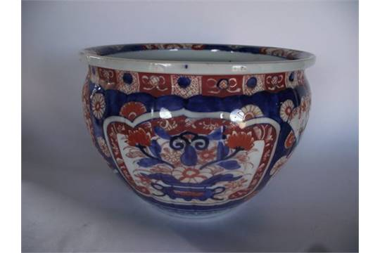 A 19th Century Imari Fish Bowl With Painted Fish Decoration To The