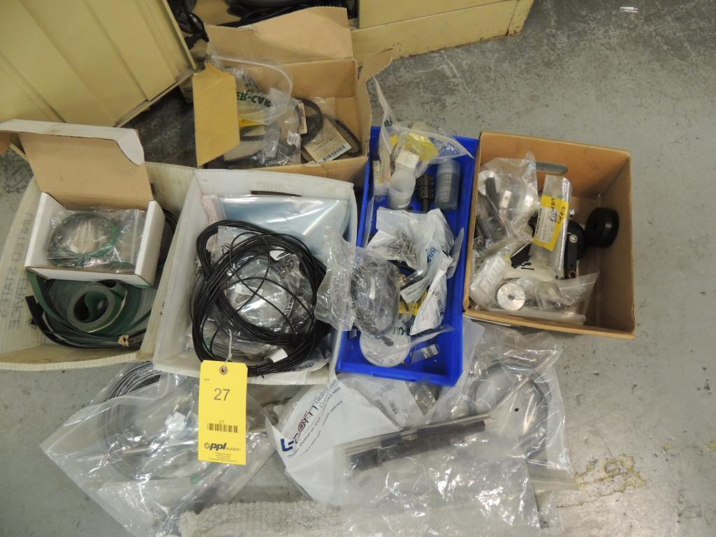 Lot 27 - Misc. Flowmaster Parts, Pocket Feed Belts, Outfeed Table Motor, Chain, Flow Valves, Bearings, Shady
