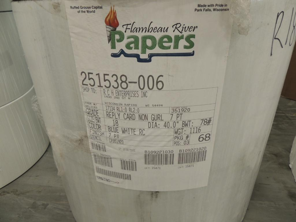 Lot 11 - Web Paper, 14 in. to 20 in., 24 lb. to 78 lb. Approximatly 48,800 Lbs.