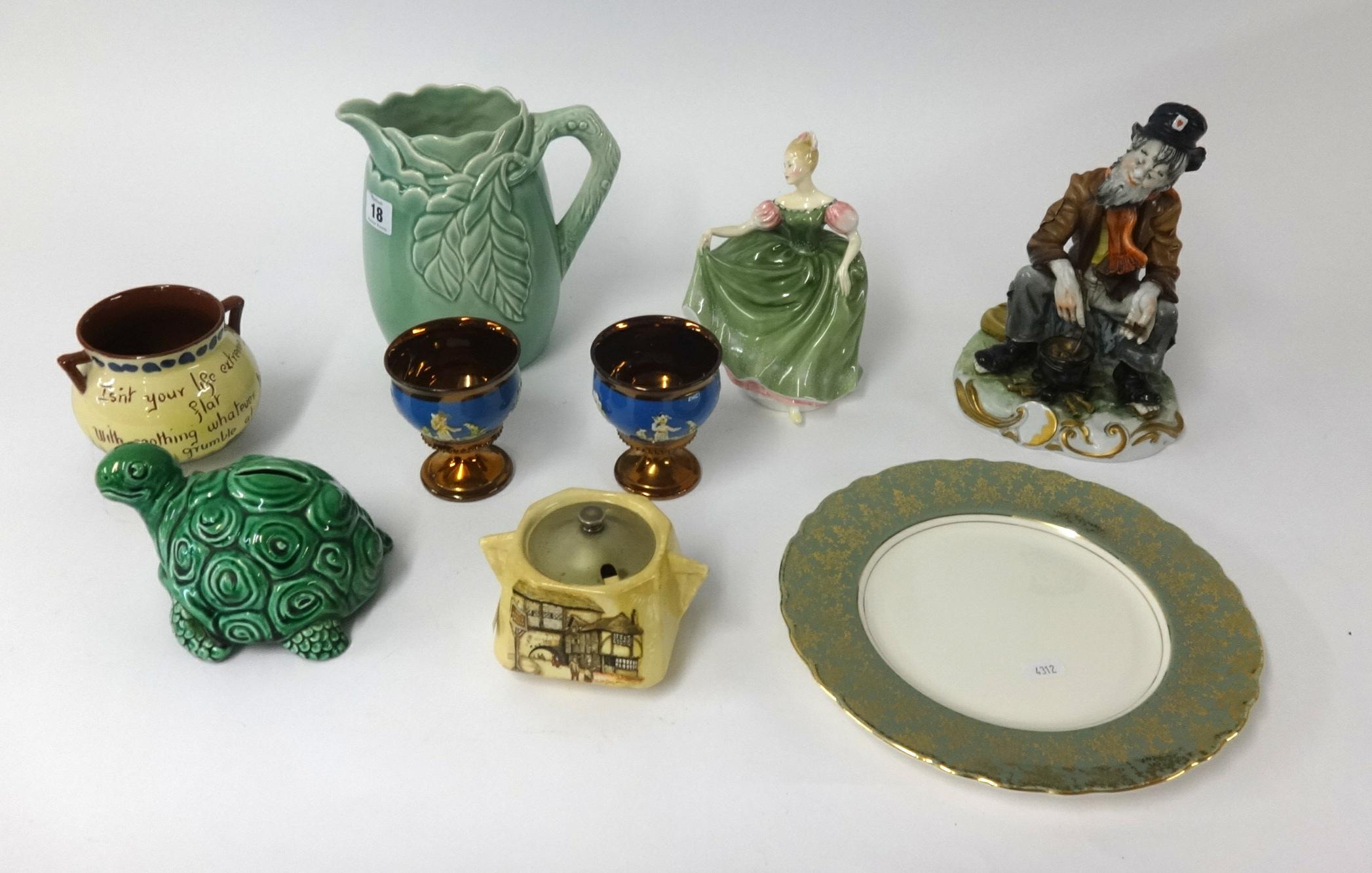 Lot 018 - A pair of Victorian copper lustre goblets, Torquay cockerel patterned cauldron, Doulton figure '