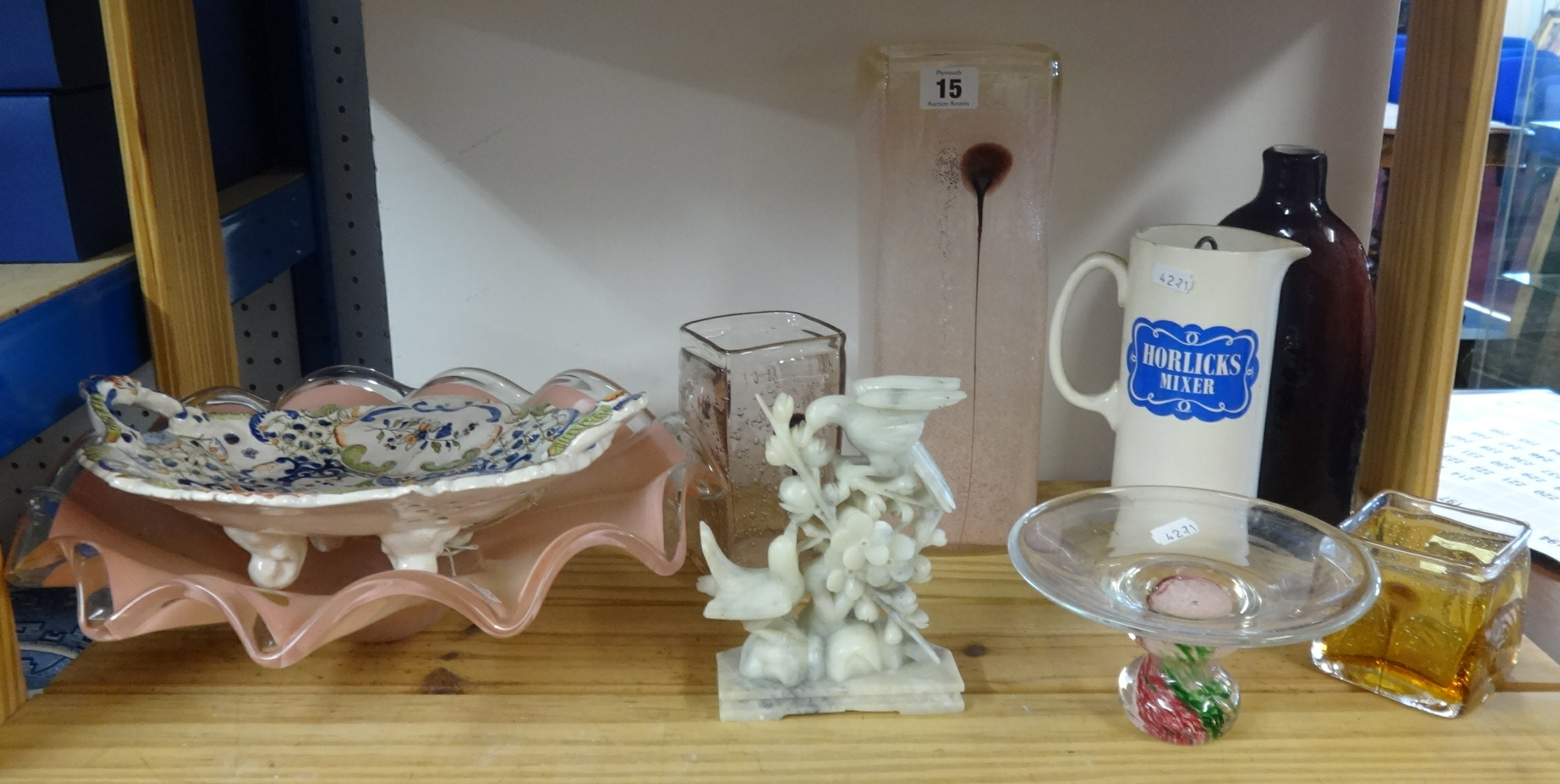 Lot 015 - Various art glass ware, continental pottery dish, carved hardstone bird group and Horlicks jug