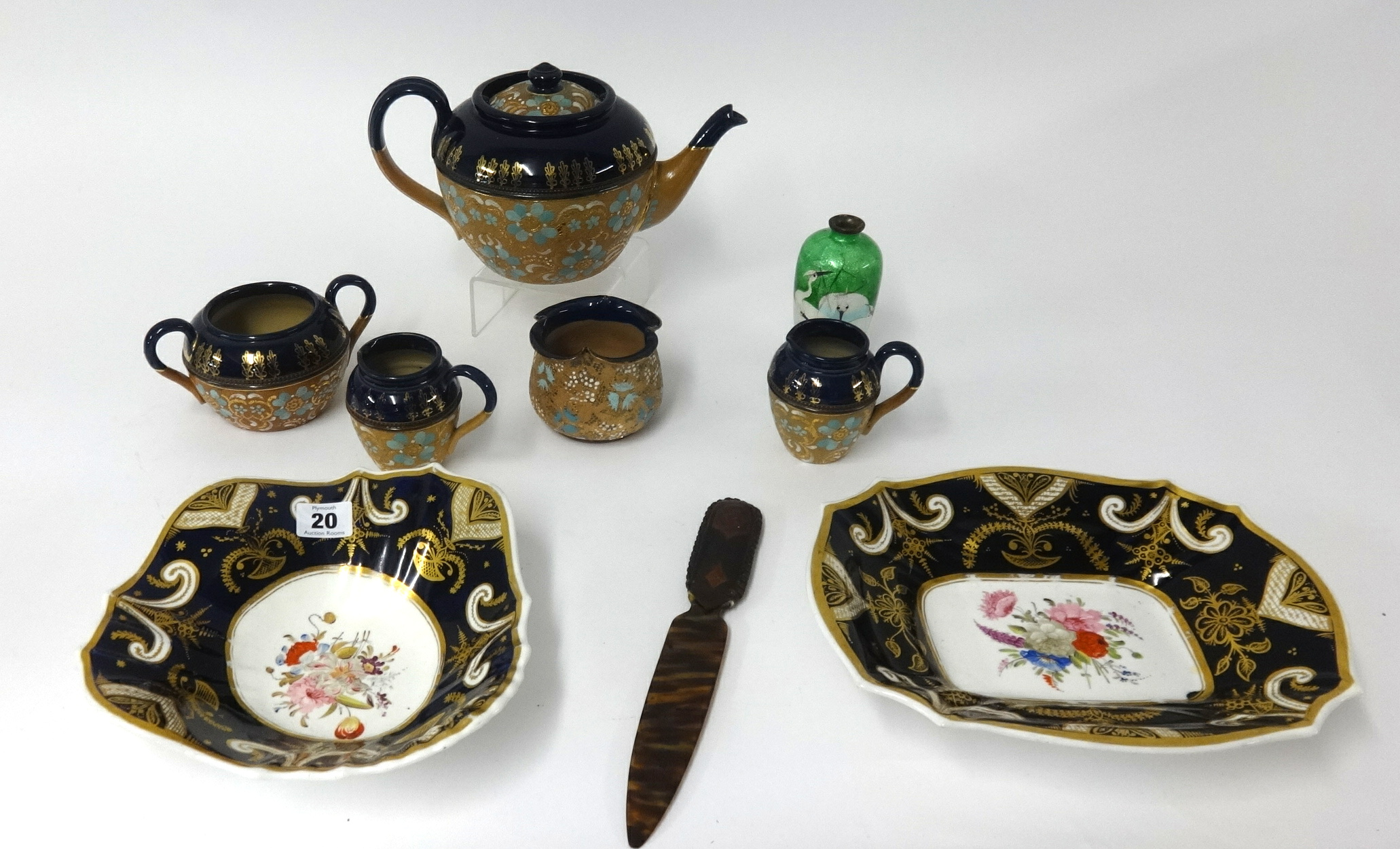 Lot 020 - Doulton, Slaters five piece tea service, two 19th Century hand painted dishes, paper knife and