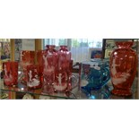 A collection of Mary Gregory style Victorian coloured glassware (6).