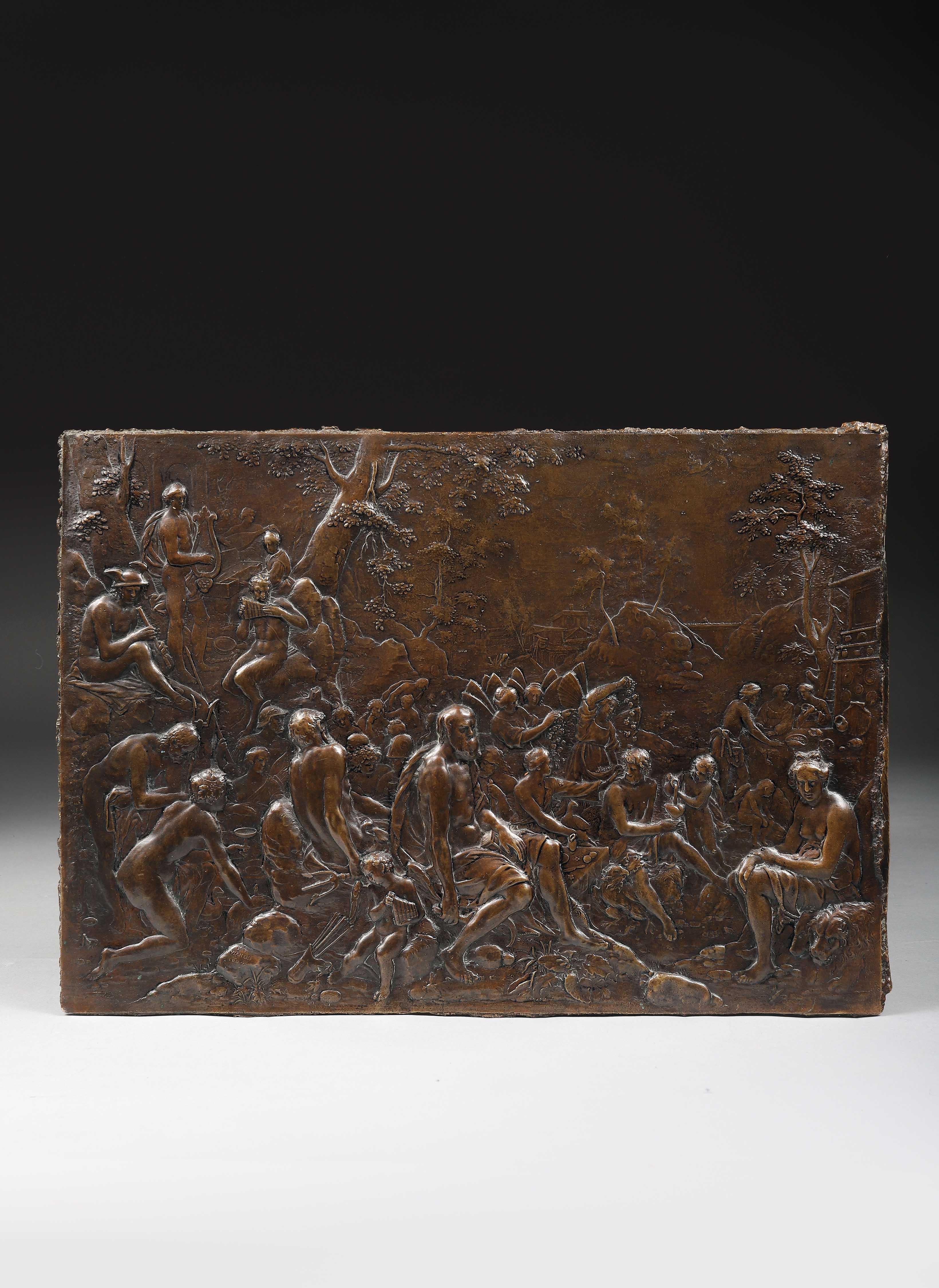 Los 39 - LE FESTIN DES DIEUX Par Paulus van Vianen (1570-1613) Fonte de bronze rectangulaire [...]