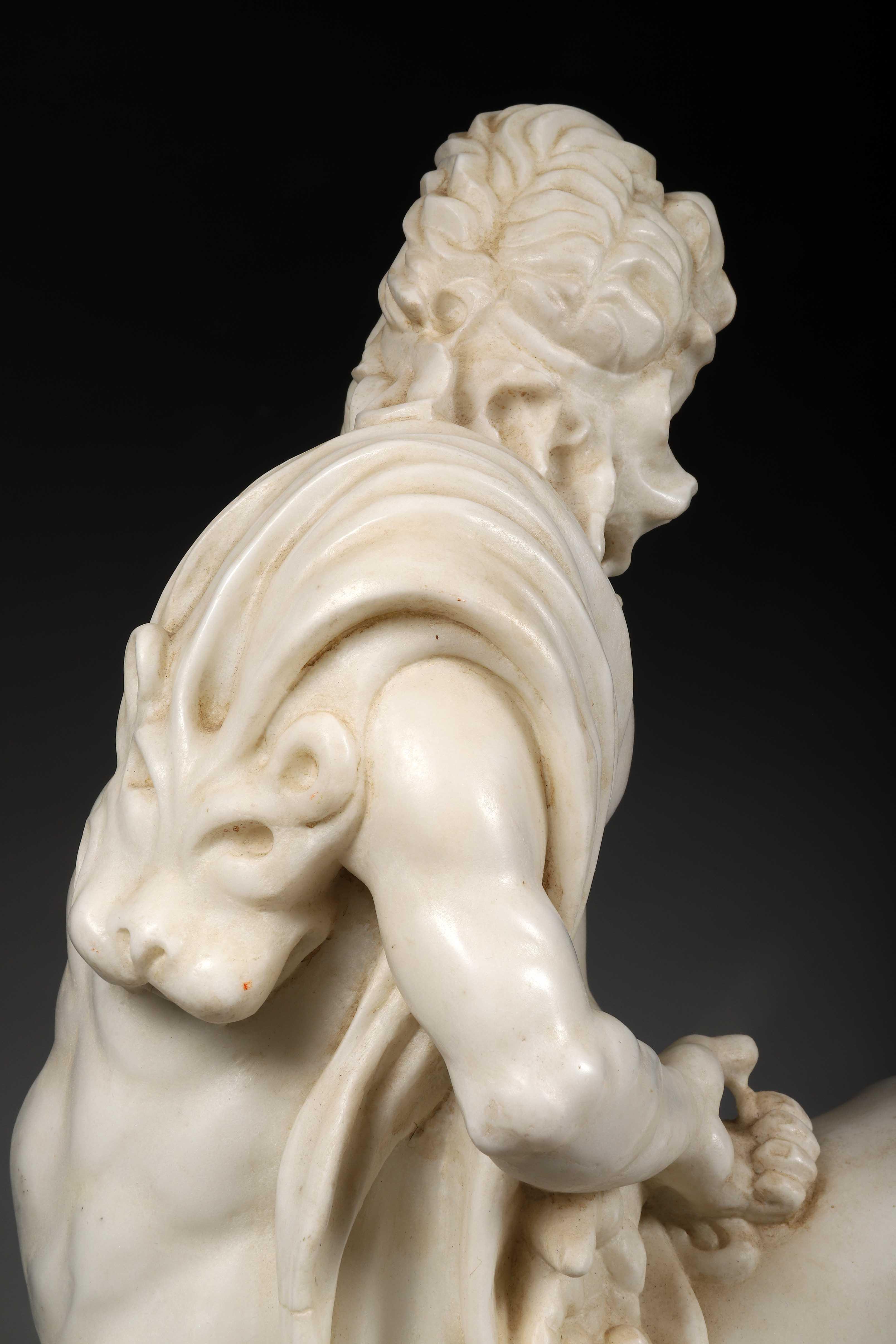 Le vieux centaure de Furietti. Sculpture en marbre blanc exécutée au XXème siècle [...] - Bild 5 aus 5