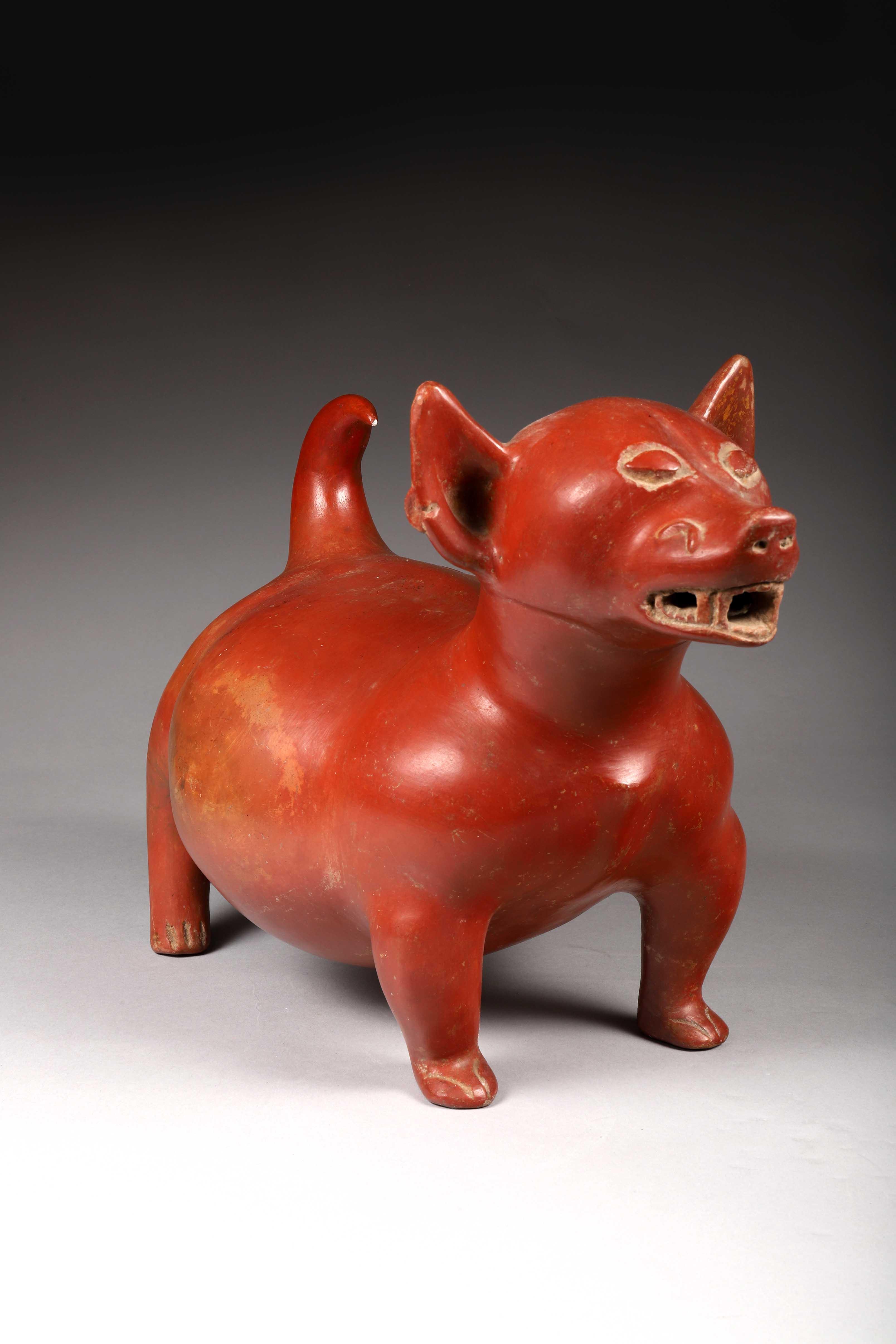 Los 18 - Chien gras Céramique à engobe ocre rouge. Mexique Occidental, Culture Colima, [...]