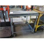 """GRANITE SURFACE PLATE, 3' X 3' X 3"""", W/ HEAVY DUTY ROLLING STAND"""