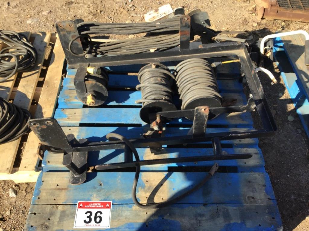 Lot 36 - Set of Welding Cables on Rolls w/Rack Inc Cutting Torch Hoses, 110v Cord, & Welding Cable