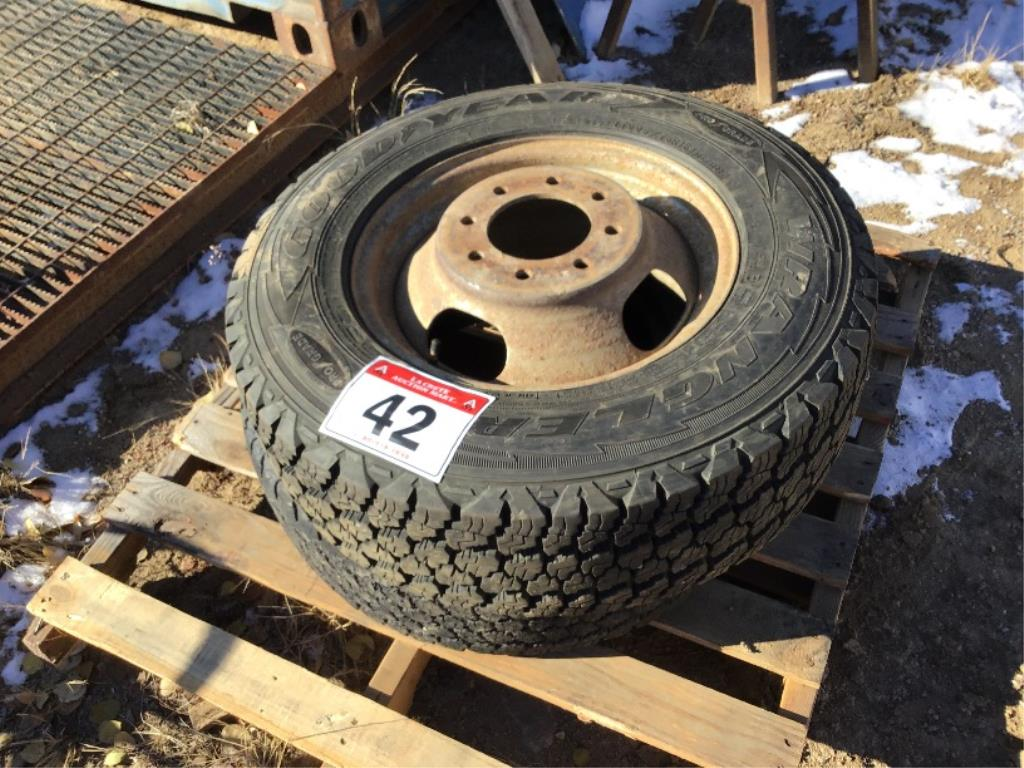 Lot 42 - Set of 2 Wrangler LT225/75R16 Tires on 8-Bolt Rims
