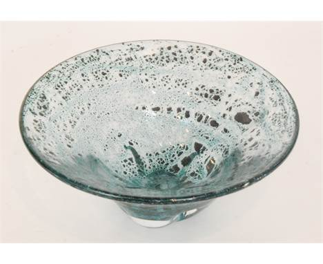 A Flygsfors glass bowl by Willem de Moor, of conical form, internally decorated with air bubble over the pale mottled blue gr
