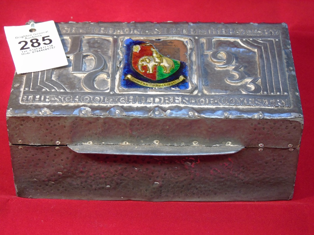 METAL BOX WITH ENAMEL DECORATION (A/F) MARKED CHILDREN OF COVENTRY JDC SEPT. 2ND 1933