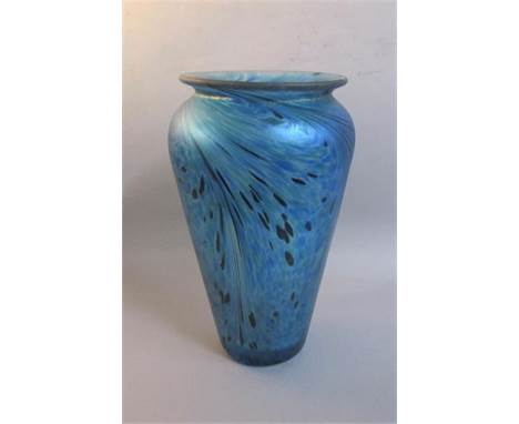 A blue iridescent glass vase in style of Loetz with mottled and swirled decoration, unsigned, 20cms h.