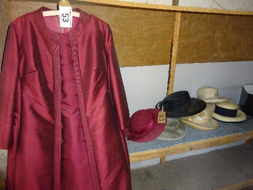 Lot 53 - Wakefords of Knightsbridge dress and jacket and 6 ladies hats