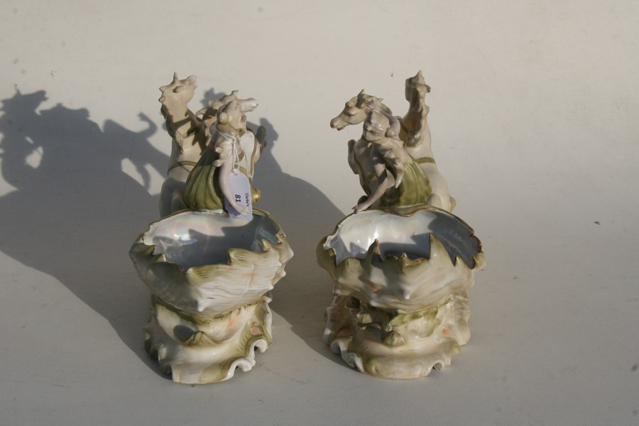 A pair of Royal Dux style Art Nouveau porcelain baskets in the form of a maiden being pulled along - Image 6 of 6