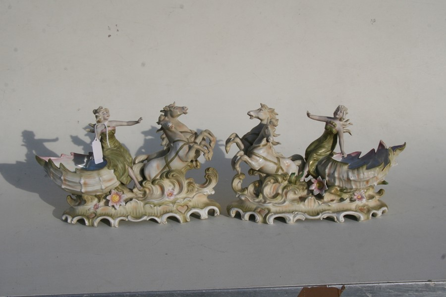 A pair of Royal Dux style Art Nouveau porcelain baskets in the form of a maiden being pulled along - Image 3 of 6