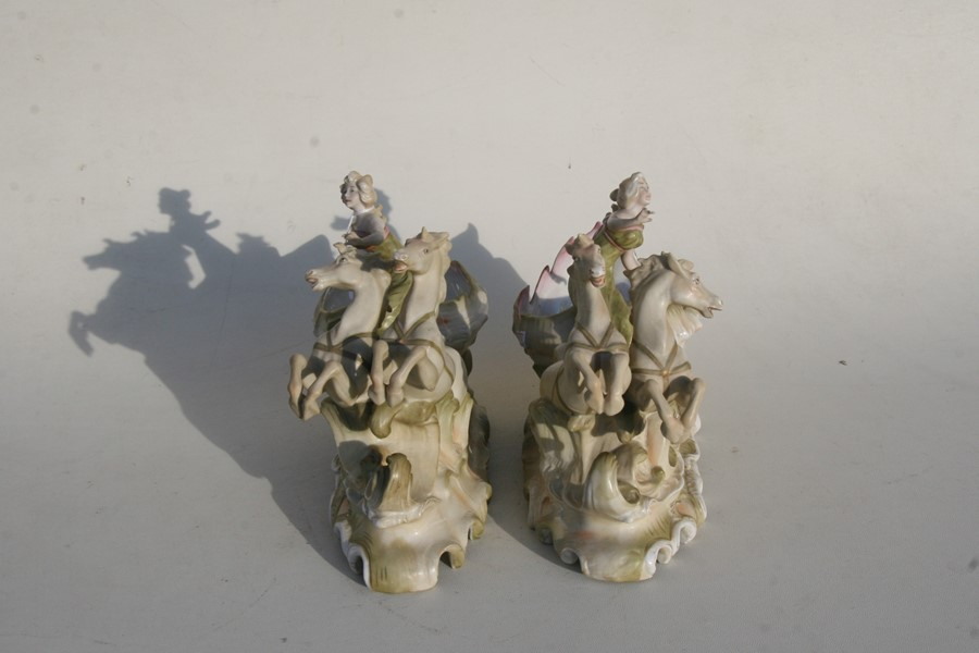 A pair of Royal Dux style Art Nouveau porcelain baskets in the form of a maiden being pulled along - Image 4 of 6