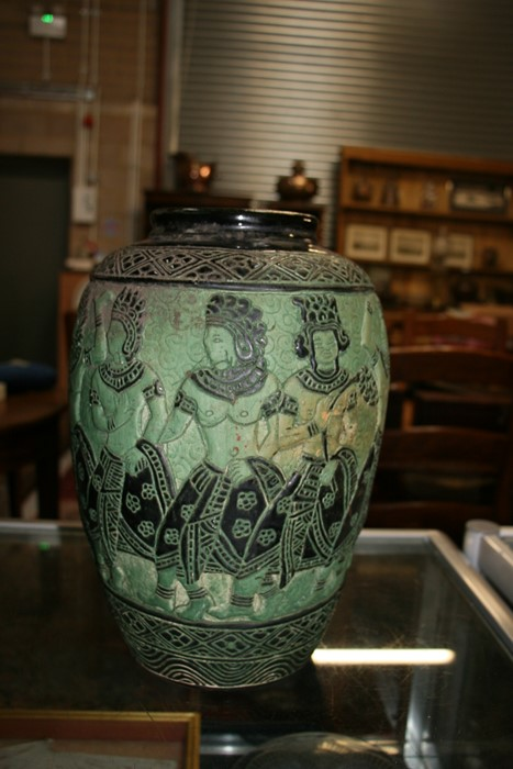 A Bombay school style vase decorated with figures on a green ground, 34cms (13.5ins) high. - Image 6 of 9