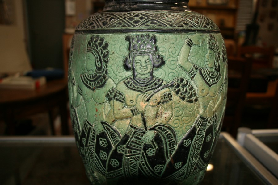 A Bombay school style vase decorated with figures on a green ground, 34cms (13.5ins) high. - Image 7 of 9