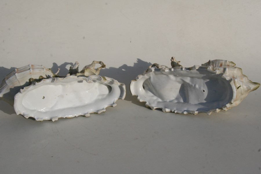 A pair of Royal Dux style Art Nouveau porcelain baskets in the form of a maiden being pulled along - Image 2 of 6