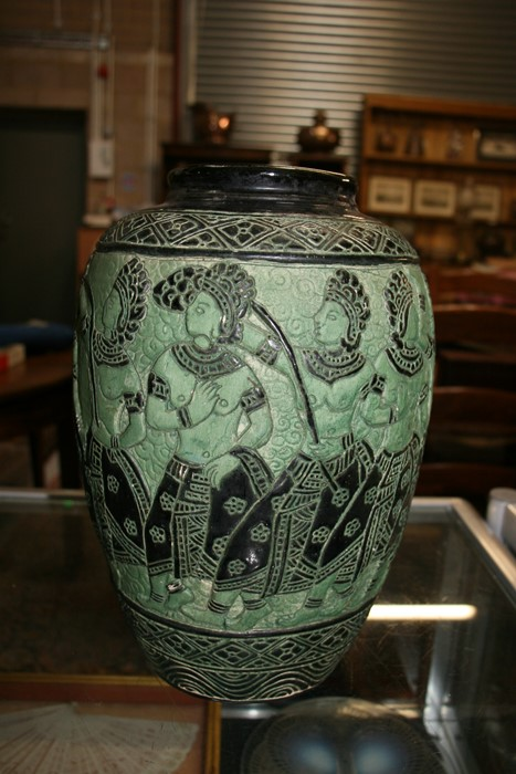 A Bombay school style vase decorated with figures on a green ground, 34cms (13.5ins) high. - Image 9 of 9