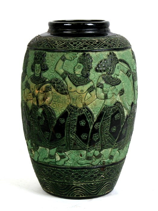 A Bombay school style vase decorated with figures on a green ground, 34cms (13.5ins) high.