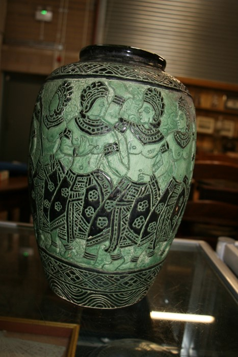 A Bombay school style vase decorated with figures on a green ground, 34cms (13.5ins) high. - Image 5 of 9