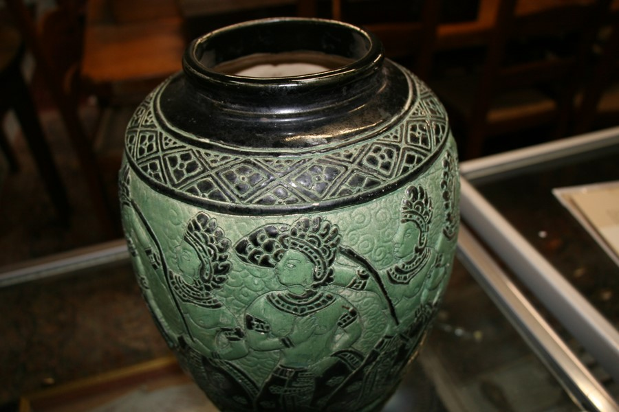 A Bombay school style vase decorated with figures on a green ground, 34cms (13.5ins) high. - Image 2 of 9