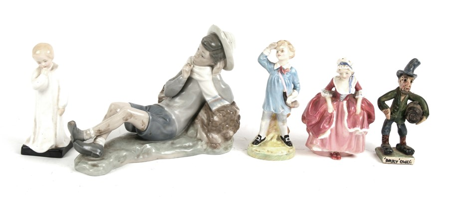 Three Royal Doulton figures - Little Boy Blue, Goody Two Shoes and Darling; together with a Will