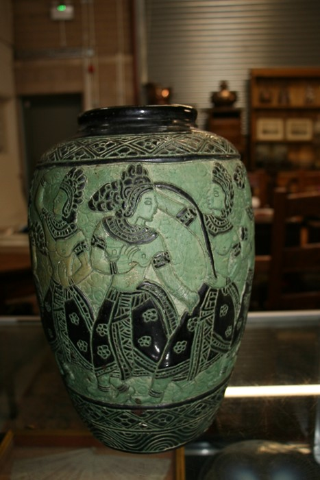 A Bombay school style vase decorated with figures on a green ground, 34cms (13.5ins) high. - Image 8 of 9