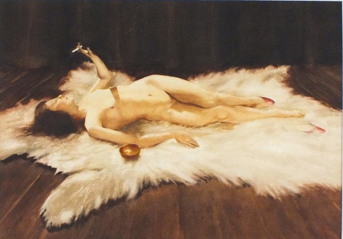 Lot 236 - Francis John KILGOUR (British 20th Century), Nude wearing red  shoes