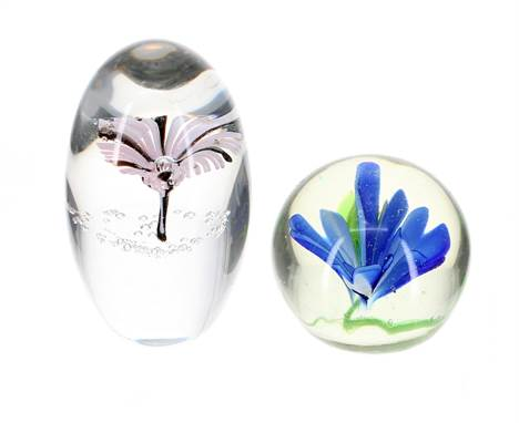 """Daum floral glass paperweight, etched signature, 3.75"""" high; also another paperweight with blue internal flowers (2)"""