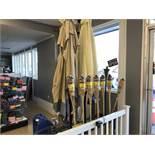 9 Tiki Torches & 5 Patio Umbrellas w/ Rack
